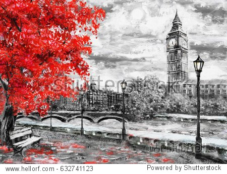 oil painting on canvas  street of london. Artwork. Big ben and red tree.  England. Bridge and river