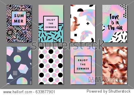 Creative bright summer journaling cards. Retro memphis holographic and copper posters with geometric shapes. Hello  enjoy typography. Vector minimal design for banner  cover  flyer  brochure