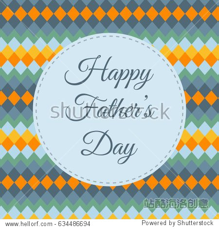 Happy Father's Day. Greeting card and poster on a background with a geometric pattern. Vector illustration