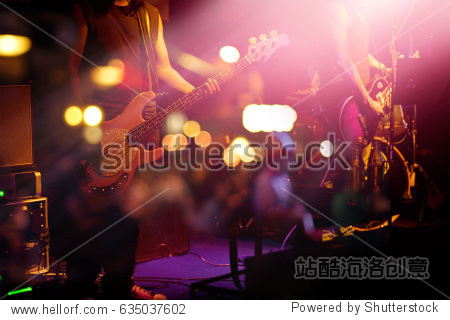 Guitarist on stage for background  soft and blur concept