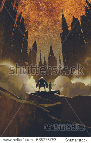 the girl and robot standing on rock path looking at dark castles and burning sky on background with digital art style  illustration painting