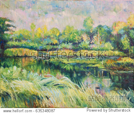 Landscape of tree  lake and mountain oil color painting on canvas