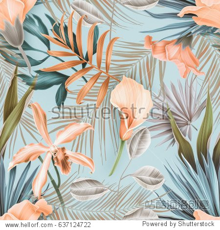 Seamless tropical flower  plant pattern background. Hawaiian  californian  florida summer style