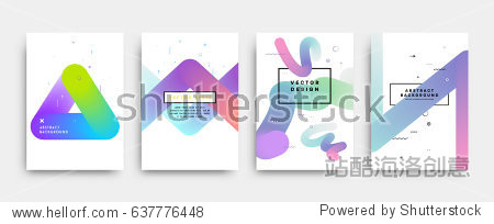 Placards with abstract liquid bubbles shapes  80s memphis geometric style flat and 3d design elements. Retro art for covers  banners  flyers and posters. Esp10 vector illustration.