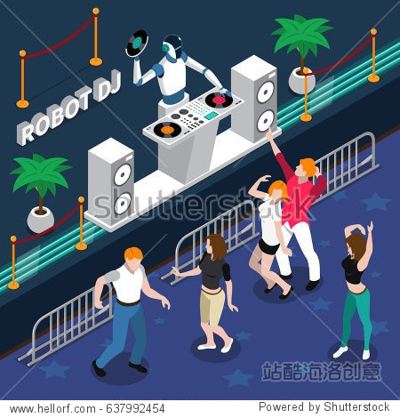 Robot professions 3d design concept with robot dj and young dancing people at night party isometric vector illustration