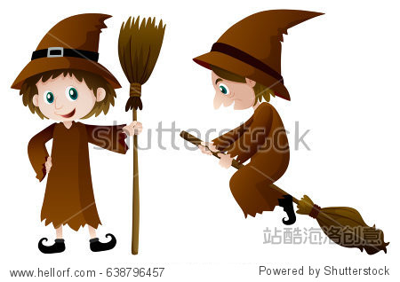Two witches with magic broomstick illustration
