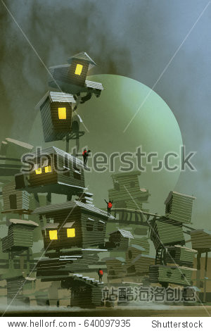 digital art of the fantasy village with stacked houses and a planet on background  illustration painting
