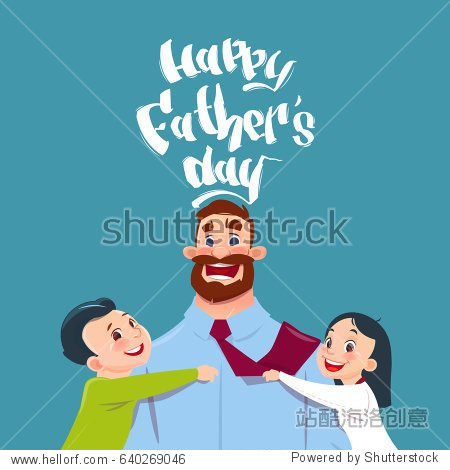Happy Father Day Family Holiday  Daughter And Son Embracing Dad Greeting Card Flat Vector Illustration