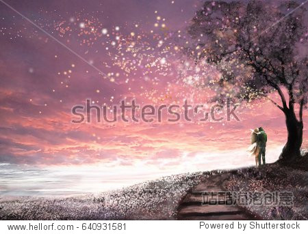 Fantasy illustration with beautiful sky  stars.  woman and man under an tree looking at the sunset  cute  landscape. Painting. floral meadow and stairs