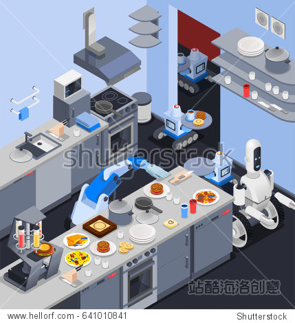 Robot isometric professions composition with robotic manipulator cook and waiters serving food in restaurant kitchen interior vector illustration