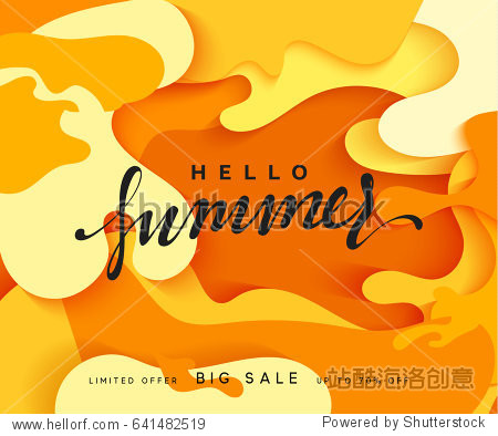 Hello Summer banner. Melted 3D colorful background in style paper art illustration. Bright poster summer sale