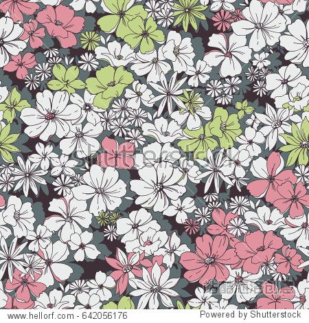 Cute Seamless Ditsy Floral Pattern.different flowers on the dark background