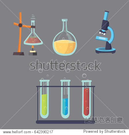 Vector set - chemical test. Flat design chemistry laboratory experiment equipment