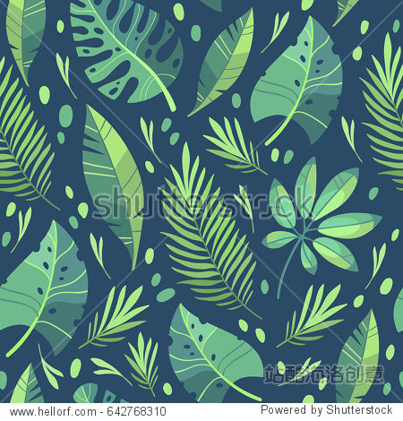 Vector illustration. Green plants  exotic leaves  banana leaf  areca palm  botany  flora. Tropical pattern. Dark background