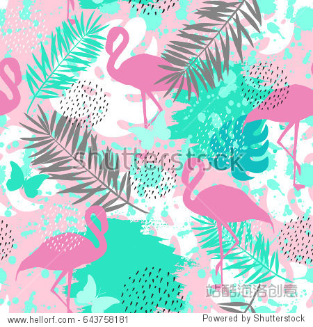 Seamless abstract pattern with flamingo. Vector illustration