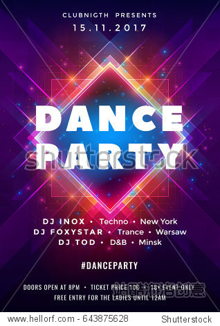 Dance party poster vector background template with particles  lines  highlight and modern geometric shapes in pink and blue colors. Music event flyer or banner abstract