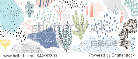 Creative universal artistic floral background. Hand Drawn textures. Trendy Graphic Design for banner  poster  card  cover  invitation  placard  brochure or header.