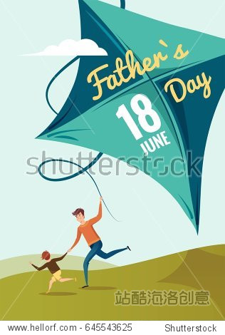 Happy Fathers Day flyer  banner or poster. Happy family father and son flying kite and having fun in summer. Vector illustration