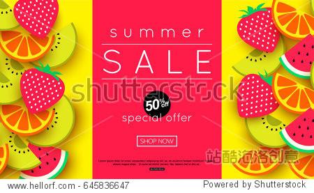 Summer sale announcement for banner  poster. Vector illustration