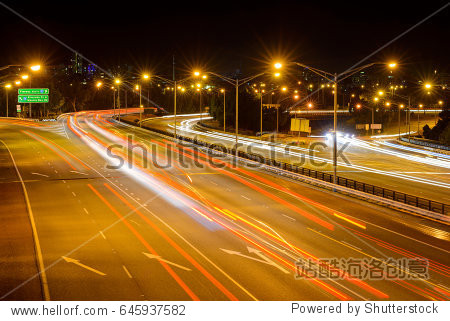 Multi-lane road at night  light lines  Mitchell Fwy  Freeway in the center of Perth City  West Coast  Western Australia  Australia  Down Under