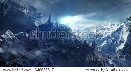 Snow-capped mountains between the castle 3d rendering.