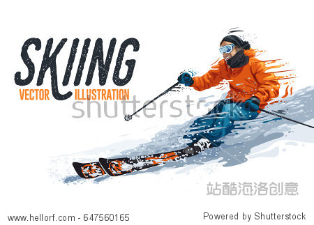 Young man riding on skis on white background  winter. Vector illustration in realistic style