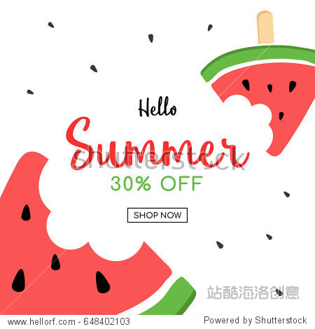 Summer sale and cute Watermelon Slice Popsicle with a bite  Vector illustration