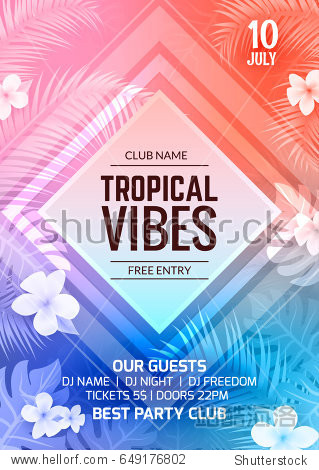 Summer Party Tropical Vector Flyer Template design. Summer decoration poster illustration. Tropical vacation element.