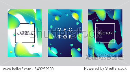 Vector design template and illustration in trendy bright gradient colors with abstract fluid shapes  paint splashes  ink drops and copy space for text - futuristic posters  banners and cover designs