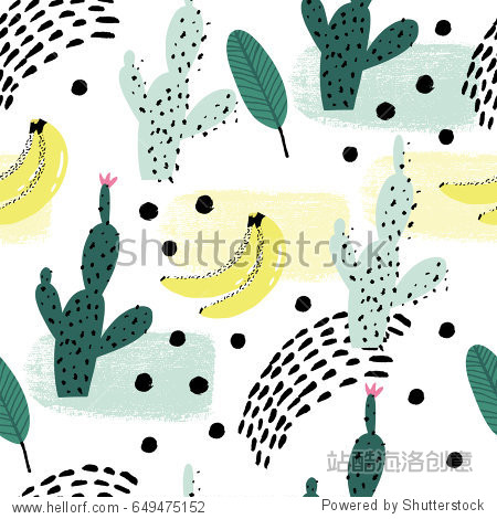 Seamless repeating pattern with cactus and bananas on white background. Good for paper, poster, textile, greeting card design.