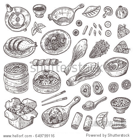 Chinese cuisine set. Hand drawn vector illustration. Can be used for farmers market  poster  banner  sticker  logo  label and other design.