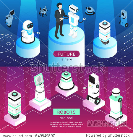 Robots horizontal isometric banners with man  high tech machines on pedestals in light rays isolated vector illustration