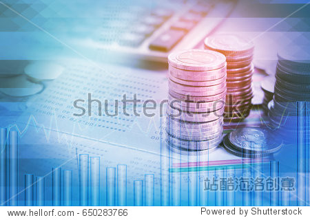 double exposure pile of coins financial graph stock chart  account book and calculator in background