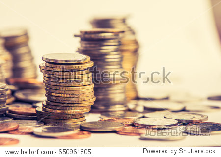 Stack of coins stock financial indices on currency exchange. Financial stock market in accounting market economy analysis. Digital stock exchange trade cost background. Economy financial cost concept;