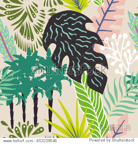 Abstract exotic composition of tropical leaves and palm trees. Beach jungle cartoon seamless pattern wallpaper beige background
