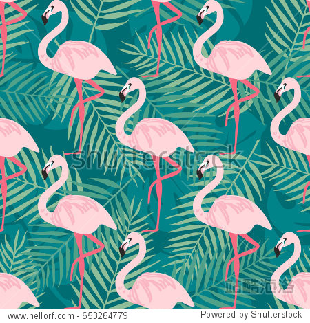 Tropical trrendy seamless pattern with pink flamingo tropical leafs. Beach background. Paradise pattern. Tropical bird and leaf