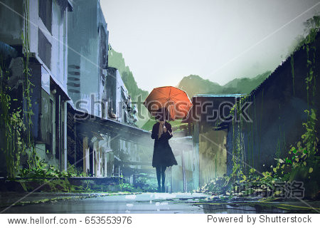 mysterious woman holds orange umbrella standing on street in abandoned city with digital art style  illustration painting