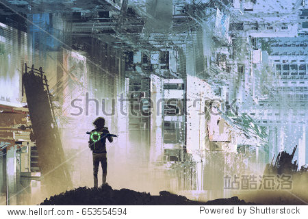 sci-fi concept of the traveler take picture of abstract futuristic city with digital art style  illustration painting