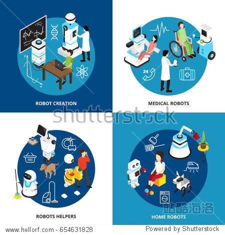Isometric design concept with robots creation  high tech machines for medicine  assistance and home isolated vector illustration