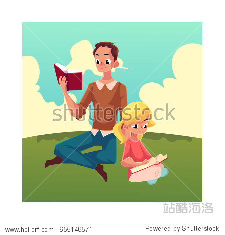 Young man and little girl reading books sitting legs crossed on the grass  cartoon vector illustration isolated on white background. Man and girl  father and daugther reading thick books  sitting