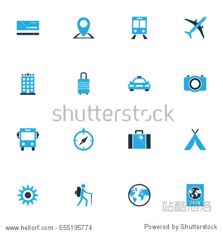 Exploration Colorful Icons Set. Collection Of Bank Card  Sun  Photo Device And Other Elements. Also Includes Symbols Such As Baggage  Bus  Dome.