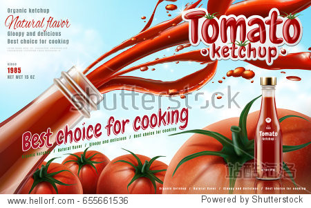 tomato ketchup shooting from glass bottle on sky background in 3d illustration