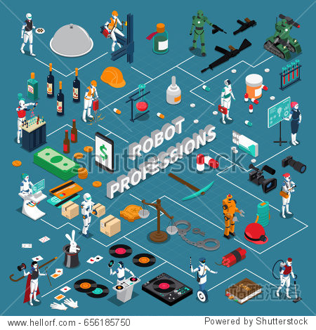 Robot professions infographics 3d layout demonstrating different applications of artificial intelligence isometric vector illustration
