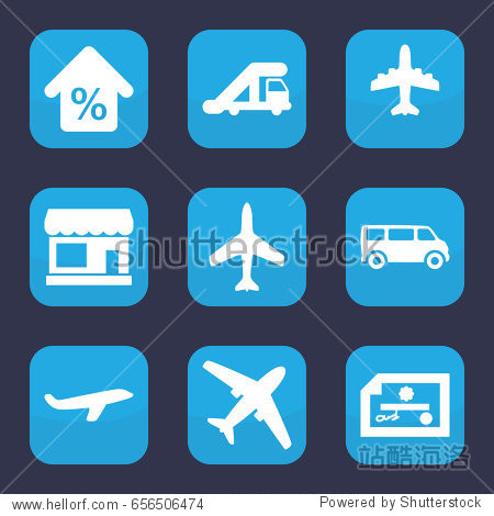 Commercial icon. set of 9 filled commercial icons such as plane  store  truck crane  van  mortgage