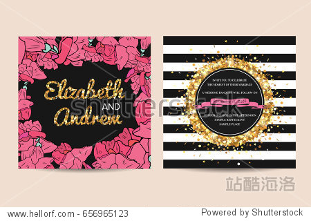 Stylish set of wedding invitation cards decorated with golden glitter. Golden sparks on a geometric and floral template.