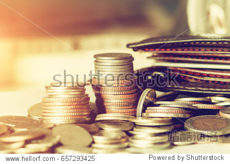 Save money concept with stack money coin for growing your business