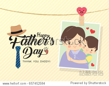 Happy Father's Day template design. Photo of cartoon father and son hugging together. Photo frame with pin and father's day greetings lettering decorated with hat  necktie. Vector illustration.