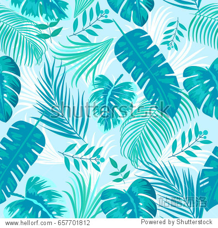 Tropical leaves and flowers of palm tree. Seamless pattern. Vector background.