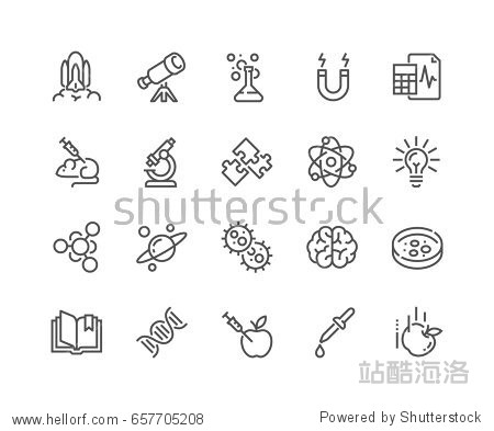 Simple Set of Science Related Vector Line Icons.  Contains such Icons as Biology  Astronomy  Physics  Science Test  Lab and more. Editable Stroke. 48x48 Pixel Perfect.