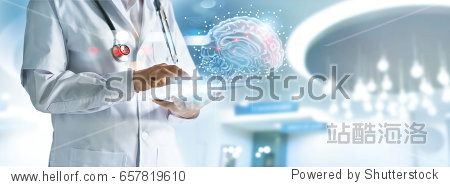 Doctor checking brain testing result with computer interface  innovative technology in science and medicine concept